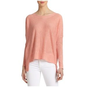 Eileen Fisher Linen High Low Sweater in Coral
